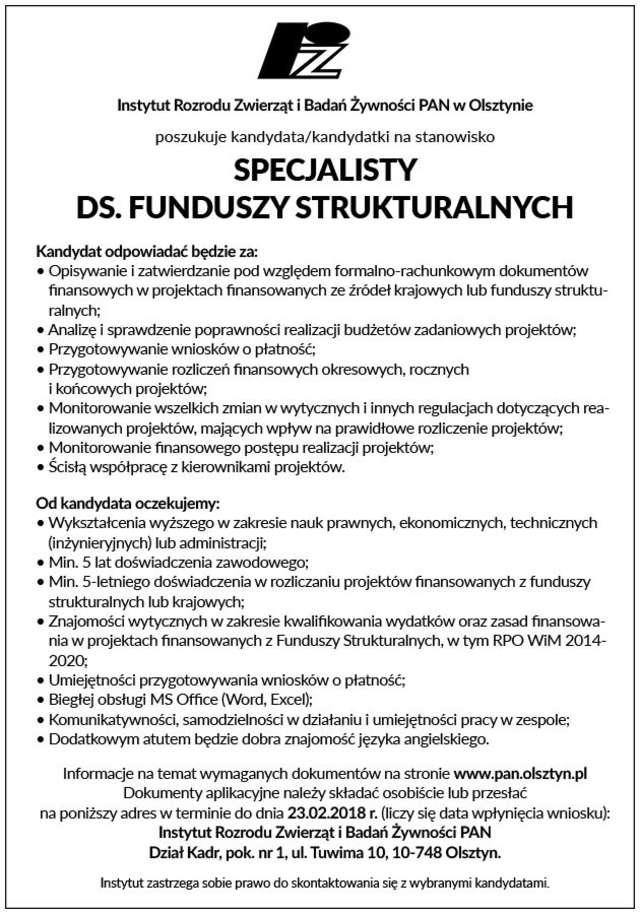 Specjalista ds. funduszy strukturalnych