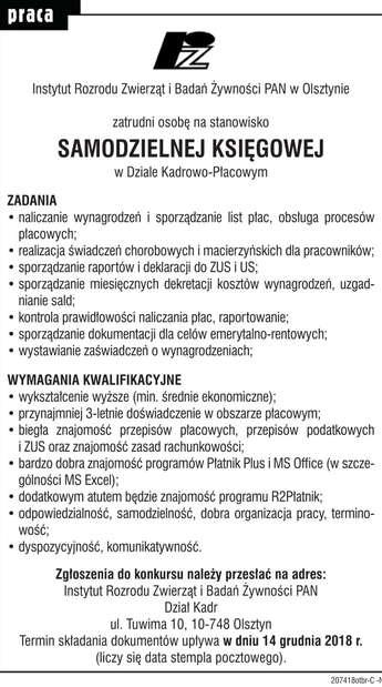 Olsztyn: REFERENT DS. KADR w Dziale Kadrowo-Płacowym